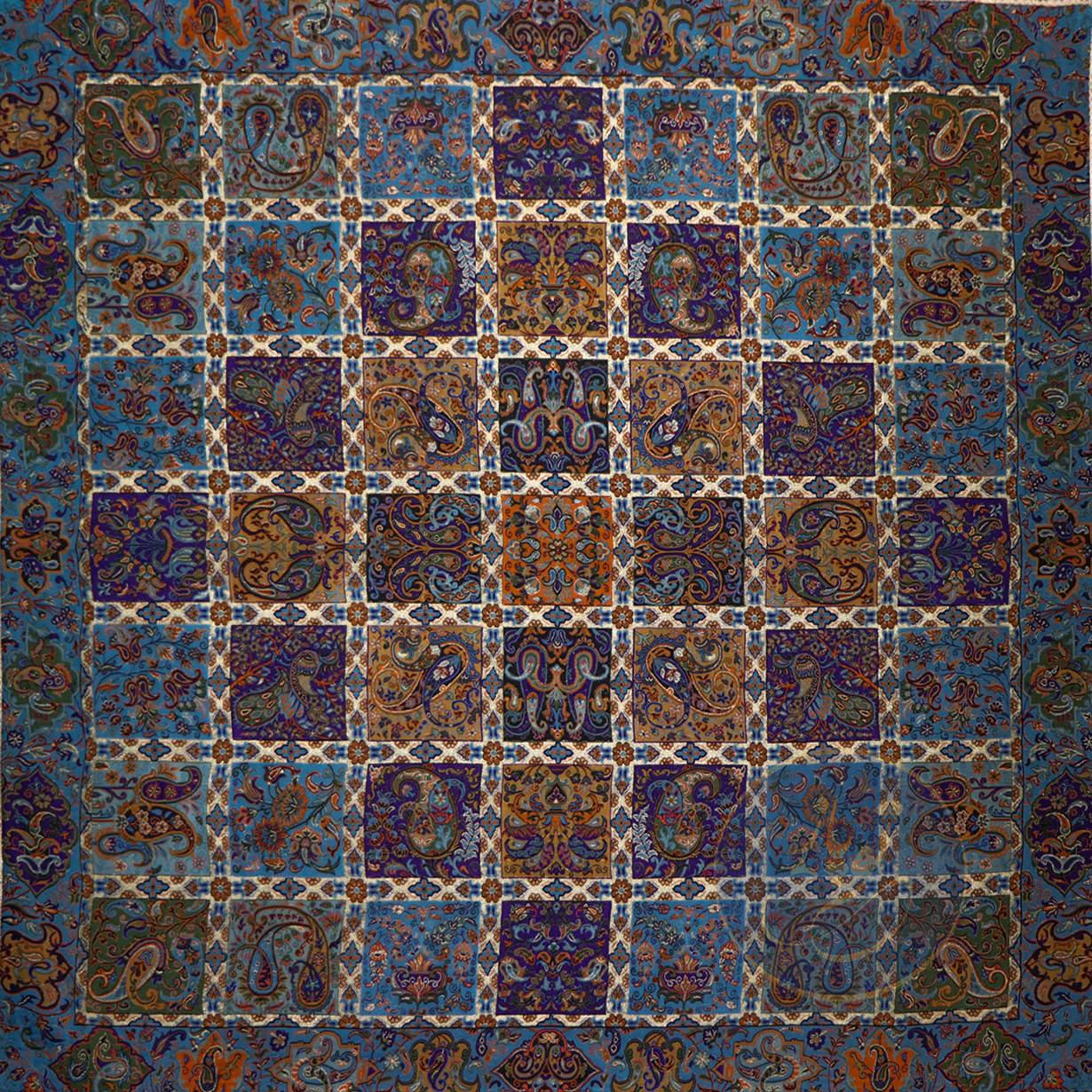 رومیزی ترمه مربع خشتی آبی