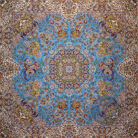 ترمه رومیزی مربع هشت بهشت آبی
